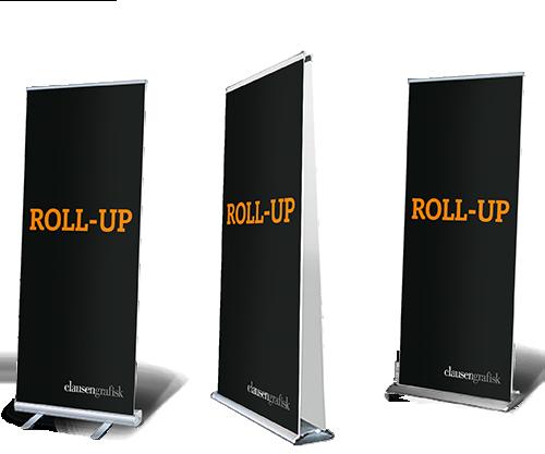 Roll-up, rollup, roll-ups eller roll-up'er. billige roll-up med flot tryk.